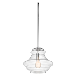 Kichler Chrome Everly Single Light 12In. Wide Pendant With Clear Schoolhouse Style Shade