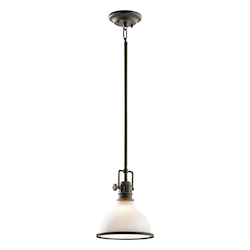 Kichler Olde Bronze Hatteras Bay Mini Pendant With Etched Glass Shade - 8In. Wide