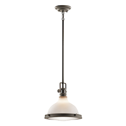 Kichler Olde Bronze Hatteras Bay Pendant Light With Etched Glass Shade - 12In. Wide
