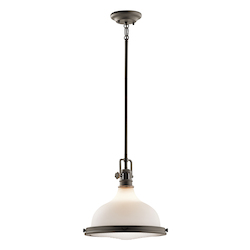 Kichler Olde Bronze Hatteras Bay Pendant Light With Etched Glass Shade - 13In. Wide