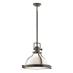Kichler Olde Bronze Hatteras Bay Pendant Light With Etched Glass Shade - 18In. Wide