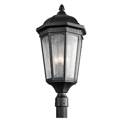 Kichler Black Courtyard 3 Light Outdoor Post Light