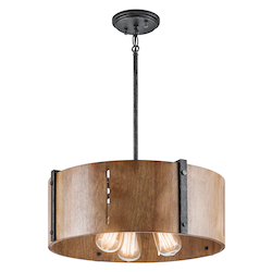 Kichler Distressed Black Elbur 3 Light 18In. Wide Pendant With Cylindrical Wooden Shade