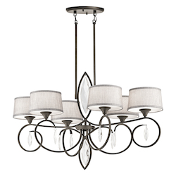 Kichler Olde Bronze Casilda 6 Light 40In. Wide Chandelier With Tapered Fabric Shades