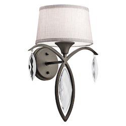 Kichler Olde Bronze Casilda 1 Light 13.5In. Wide Wall Sconce With Tapered Fabric Shade