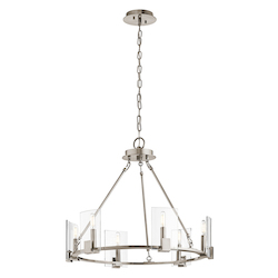 Kichler Classic Pewter Signata 6 Light 26In. Wide Chandelier With Glass Shades