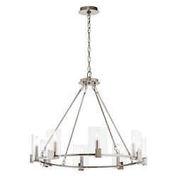 Kichler Classic Pewter Signata 8 Light 30In. Wide Chandelier With Glass Shades
