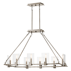 Kichler Classic Pewter Signata 8 Light 38In. Long Chandelier With Glass Shades