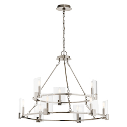 Kichler Classic Pewter Signata 9 Light 32.75In. Wide Chandelier With Glass Shades