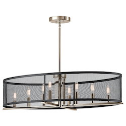 Kichler Polished Nickel Titus 8 Light 37.25In. Long Chandelier With Metal Shade