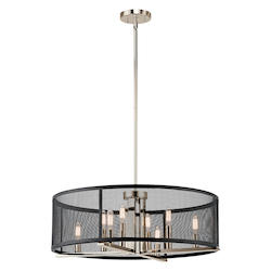 Kichler Polished Nickel Titus 8 Light 25In. Wide Chandelier With Metal Shade