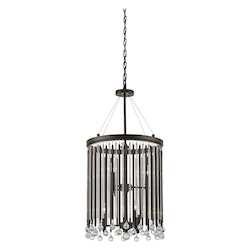 Kichler Espresso Piper 6 Light 16In. Wide Chandelier With Metal And Crystal Shade