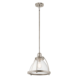 Kichler Classic Pewter Silberne 1 Light 13In. Wide Pendant With Seedy Glass Shade