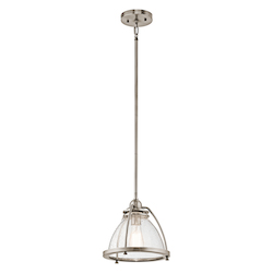 Kichler Classic Pewter Silberne 1 Light 10In. Wide Pendant With Seedy Glass Shade