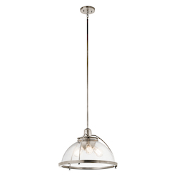 Kichler Classic Pewter Silberne 3 Light 18In. Wide Pendant With Seedy Glass Shade