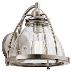 Kichler Classic Pewter Silberne 1 Light 10In. Wide Wall Sconce With Seedy Glass Shade