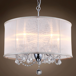 5 Light Polished Chrome Pendant with Cream Shade and Clear Crystals  - 396464