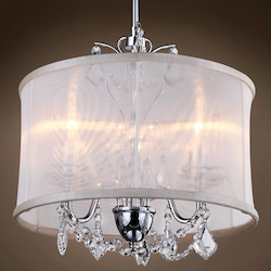 3 Light Polished Chrome Pendant with Cream Shade and Clear Crystals  - 396465