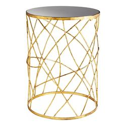 Cyan Designs Gold And Black Esca 18 Inch Diameter Iron and Glass Side Table