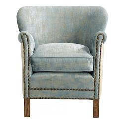 Cyan Designs Blue Vintage Velvet Bailey 27.5 Inch Tall Wood and Foam Arm Chair