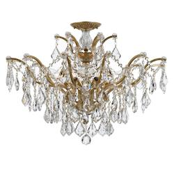 Crystorama Antique Gold Filmore 6 Light Semi-Flush Ceiling Fixture