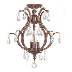 Crystorama Dawson 3 Light Elements Crystal Brass Semi-Flush