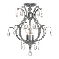 Crystorama Dawson 3 Light Elements Crystal Pewter Semi-Flush