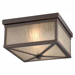 Nuvo Haven - Led Outdoor Flush Fixture W/ Sanded Tea Stain Glass