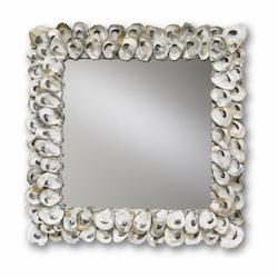 Currey Natural Shell Oyster Shell 20in. Square Mirror