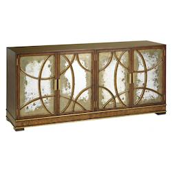 Currey Stuart Antiqued Mirror South Houston Credenza With Mirrors And Gold Accents