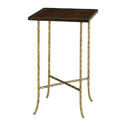 Currey Gilt Bronze Gilt Twist 14in. Square Table with Wood Top