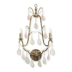 Currey Italian Gold Leaf / Pink Fairytale 2 Light Wall Sconce