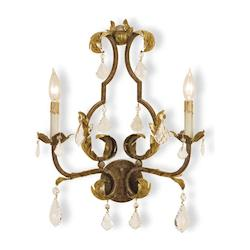 Currey Venetian/Gold Leaf/Swarovski Crystal Wall Sconce with Customizable Shades