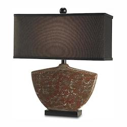 Currey Brass / Black Calabash 1 Light Table Lamp with White Parchment Shade