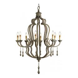 Currey Washed Gray Waterloo 59in.H 8 Light Chandelier with Optional Customizable Shades