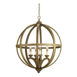 Currey Chestnut Axel Orb 41in.H 4 Light Chandelier with Optional Customizable Shades
