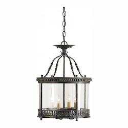Currey Frvintage Glass Grayson 4 Light Ceiling Lantern With Antique Candle Sleeves