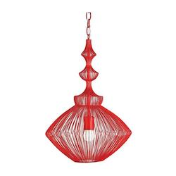 Currey Lollipop Red Parker 1 Light Pendant in Lollipop Red Finish