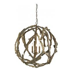 Currey Natural Driftwood 3 Light Chandelier in Natural Finish