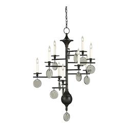 Currey Old Iron 9 Light Wrought Iron Sethos Chandelier with Customizable Shades