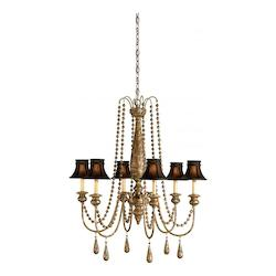 Currey Distressed Silver Leaf Eminence Chandelier with Customizable Shades