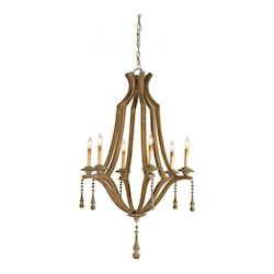 Currey Washed Wood 6 Light Single Tier Chandelier With Customizable Shades