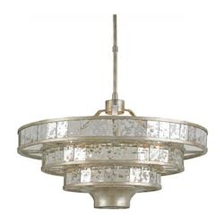 Currey Silver Granello / Raj Mirror Frappe 3 Light 3 Tier Chandelier