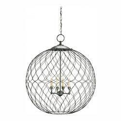 Currey Hiroshi Gray Simpatico Orb 4 Light Chandelier Large