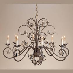 Currey Contemporary Silver Leaf Metro 4 Light 2 Tier Chandelier