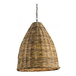 Currey Natural Basket 1 Light Pendant with Natural Woven Arurog Shade