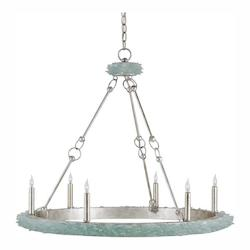 Currey Silver Granello / Seaglass Tidewater 6 Light 35in. Wide Chandelier