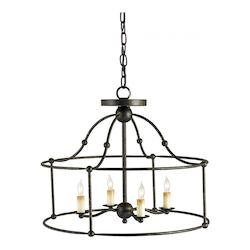 Currey Mayfair Fitzjames 4 Light Pendant with Wrought Iron Frame