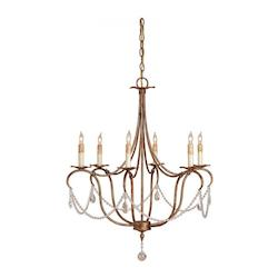 Currey Rhine Gold 33in. Height 6 Light 1 Tier Chandelier with Crystal Accents