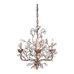 Currey Cupertino     Crystal Bud Chandelier, Small with Customizable Shades